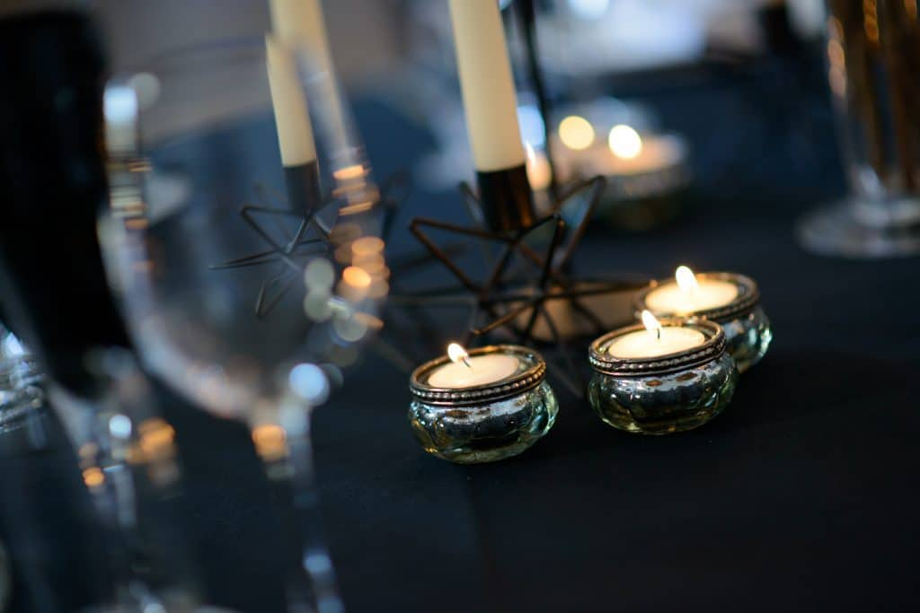 Candle light dinners setting for a wedding - Fabulous Functions UK