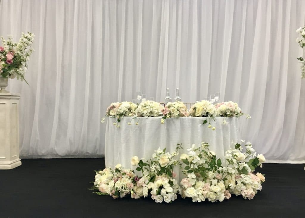 Tips for planning your guest seating plan- A sweetheart table for two solves many of the top table seating problems.