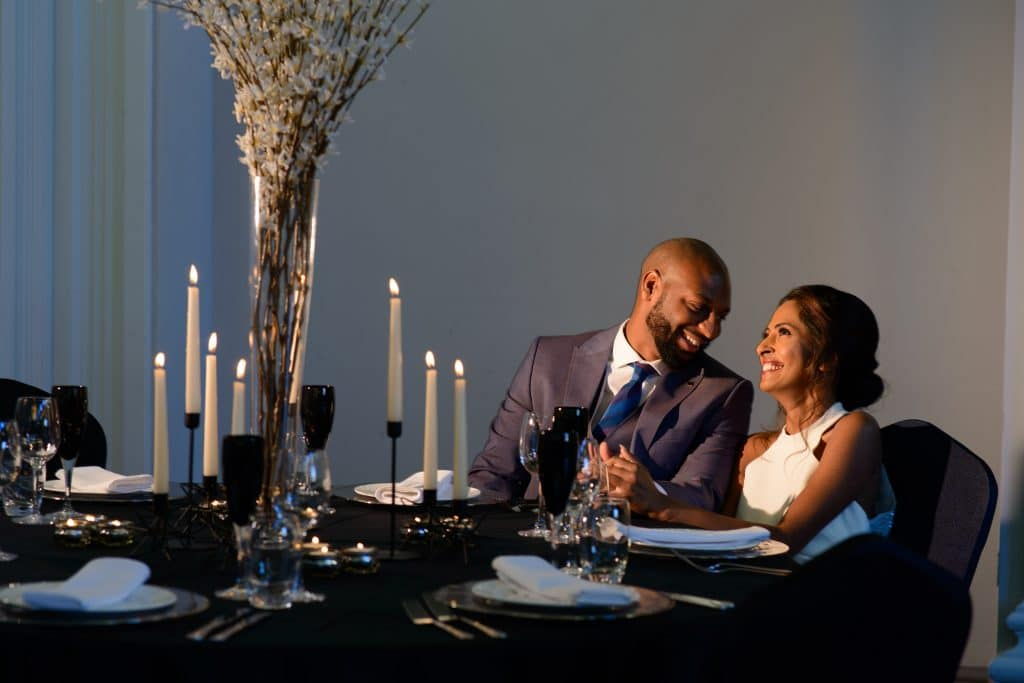 Table for two at a black tie dinner setting -Fabulous Function UK