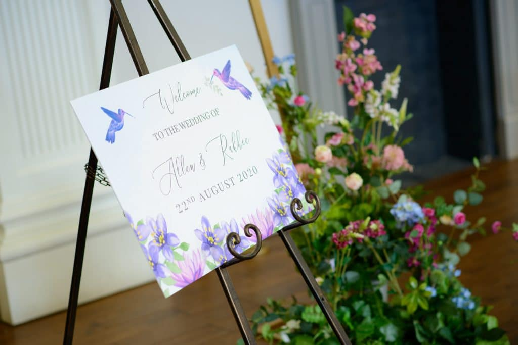Welcome sign featuring the Hummingbird and the Lotus for a Multicultural Wedding- Fabulous Functions UK