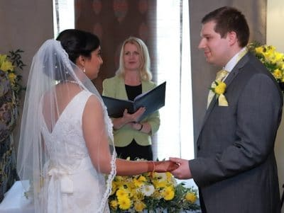 Sonam and Will at their civil ceremony