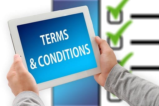 Terms and Conditions for Hiring Venue Styling Accessories - image of tablet device saying Terms and Conditions.
