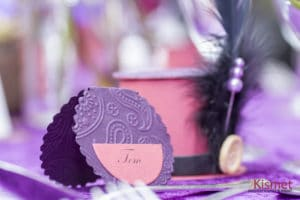 Place Cards or escort cards - a purple place card.