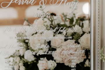 Mirrored Table Plans- Using a large mirror to create a statement decor in your venue. The guest names were printed in white vinyl and applied to this beautiful mirror. Add floating candles in various size cylinder vases to complement the scene. Creted by venue stylist Fabulous Functions UK